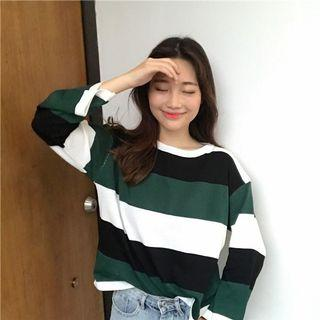 🚚 #295 (2 COLOURS) ulzzang colourblock pullover green red black white stripes long sleeved shirt