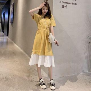 黃色 縮腰 小百摺 洋裝