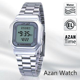 Jam Kiblat Al Harameen HA-6461 Steel Silver