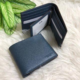 BN 💯 Authentic Coach Mens Wallet in denim blue Crossgrain leather