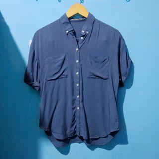 PRE❤️ dust blue shirt kemeja HARGA PAS FREEONGKIR WAHANA JABODETABEK
