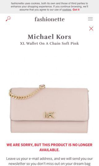 MICHAEL KORS SOFT PINK WALLET/SLINGBAG ON A CHAIN