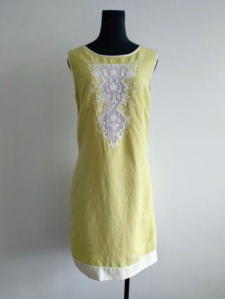 Retro Nelva yellow shift dress mod style AU 8