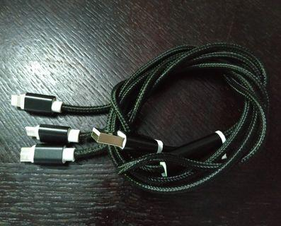 Braided Nylon 3 in 1 USB Adapter Cable