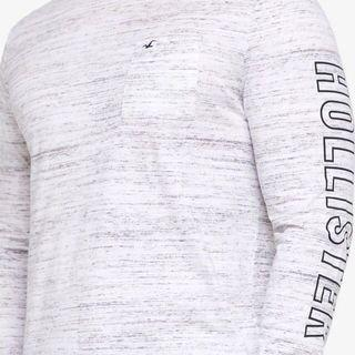 S,M,L : Hollister White Marl Long Sleeve Tee