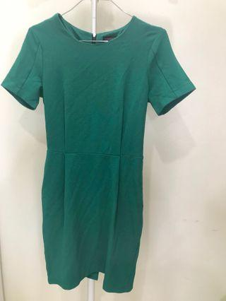 TOPSHOP Green Work Dress