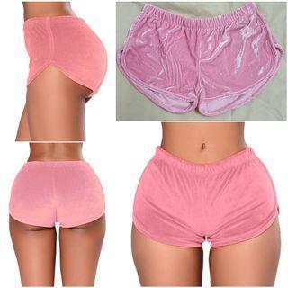 Pink velvet sexy shorts hot pants
