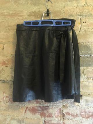 Wilfred Free leather wrap skirt