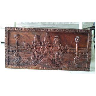 Wooden Carving Art Home Decor Wall Display Angkor Wat 3D