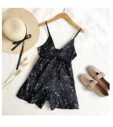 Retro print black jumpsuit
