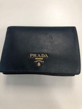 Authentic Prada Saffiano black short wallet with Gold hardware