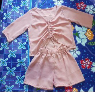 Baju wanita 1 set atasan dan celana pendek (setelan/1setel)pink abu navy dan hitam