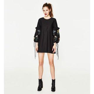 Zara刺繡燈籠袖洋裝