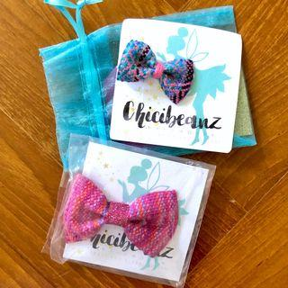 Brand New Chicibeanz Bliss Mini Bow from HQ - fancy handwoven wrap hair accessory