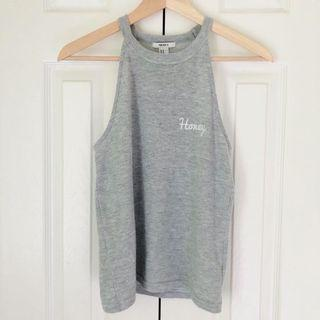 """""""Honey"""" embroidered grey tank top from forever 21"""