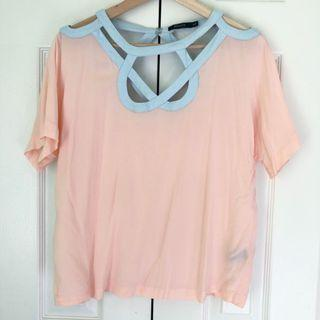 Pink and blue cut out tee