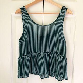 BNWT Forever 21 green and white striped tank top