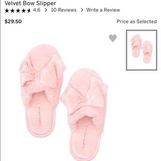 Victoria Secret Velvet Bow Slipper S(5-6)
