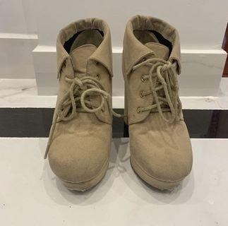 Nude beige heeled boots