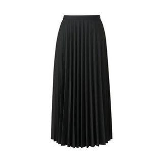 uniqlo black pleated midi skirt