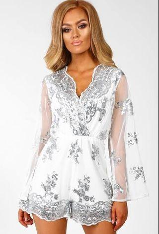 silver sequin playsuit