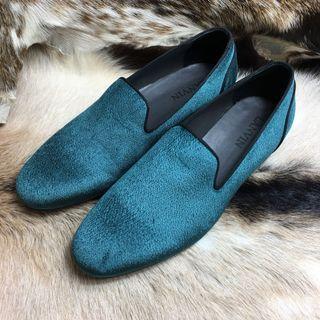 Lanvin Tuxedo Peacock green velvet shoes 孔雀绿絲絨鞋