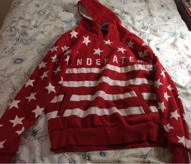 'underrated' oversized red sweatshirt