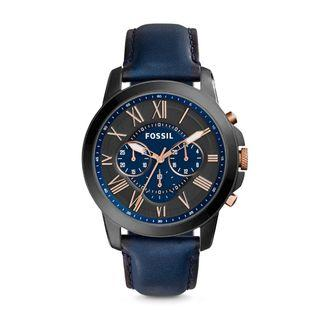 Fossil Men Grant Chronograph Navy/Black Leather Watch FS5061