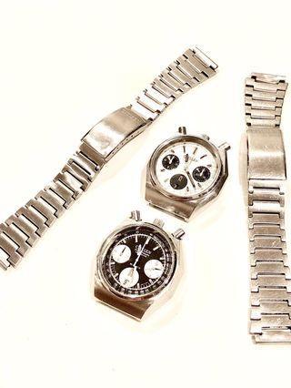 🚚 RARE: Citizen Vintage Bullhead Octagon Pandas (67-9356) with Original Bracelets