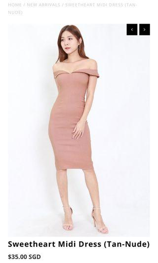 🚚 Sweetheart midi dress (Tan-nude)