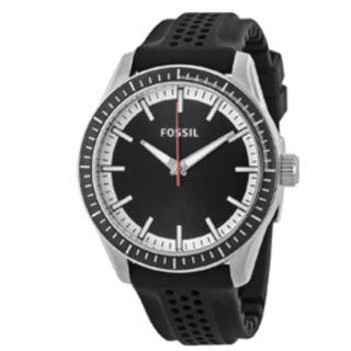Fossil Black Dial Men's Watch With White Numerals Silicon Rubber BQ1270