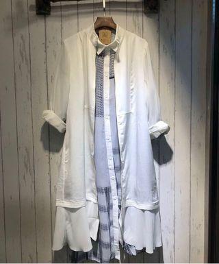 香港設計師Birthmark 白色兩著長外套長裙