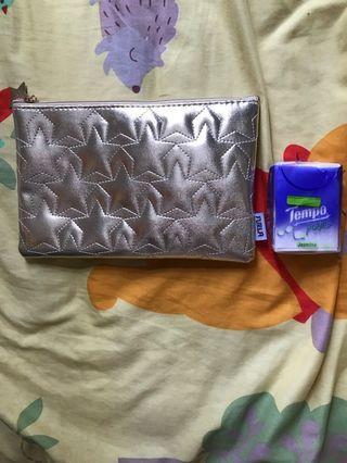 日本雜誌禮品 Furla 金色化妝袋