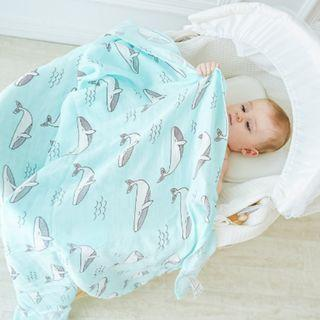 Whale and Bear Bamboo Fiber Swaddle Blanket