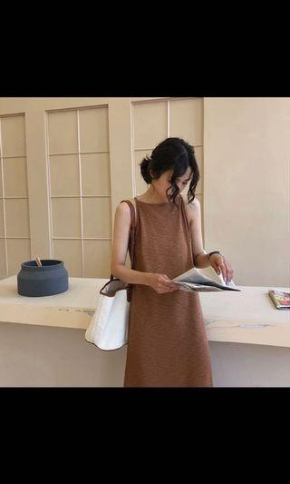🚚 二手🍭咖啡色細肩長洋裝