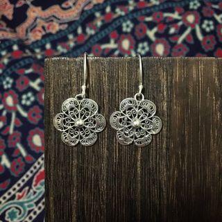 民族印度製925銀花型耳環