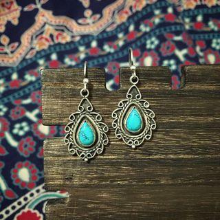 民族印度綠松石水滴造型耳環