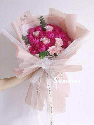 Roses flower bouquet | pink dynasty