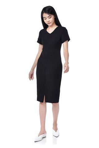(XS) TEM Adhyra Centre-Slit Midi Dress