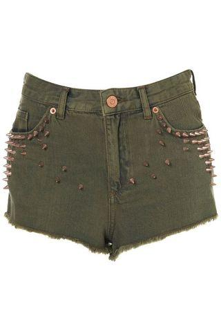 MOTO Khaki Green Denim Studded Hotpants