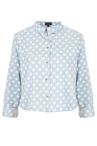 MOTO Polkadots Spot Denim Crop Shirt