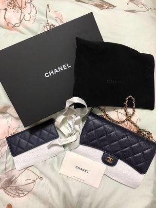 BNIB Authentic Chanel blue navy clutch or wallet (clearance price) WOC