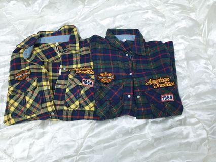 出清全新/二手衣物  兩色格紋襯衫長袖上衣 (黃藍/紅藍)