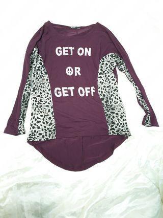 出清全新/二手衣物  (4色)紅色豹紋拼接寬鬆彈性長袖上衣