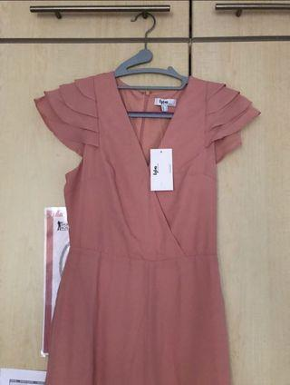 BNWT Lylas by LB Maxi Jumsuit w/ ruffle sleeve in blush