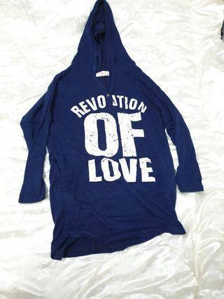 出清全新/二手衣物 深藍色字母薄款長袖帽T長版上衣