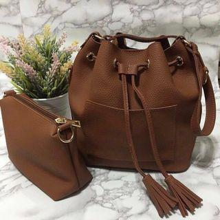 🚚 [USED] Brown Bucket Bag w/ New Pouch