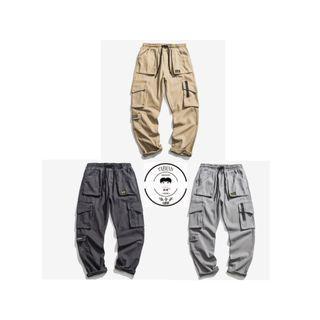 『誰合普UHF®』合作品 日系復古 鬆緊褲頭 工裝口袋休閒 長褲 中性熱賣款 3色(網路特賣價$1250)起標價=直購價