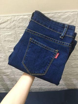 彈性牛仔長褲-藍M