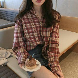 🚚 Checkered Plaid Red Long Sleeve Shirt
